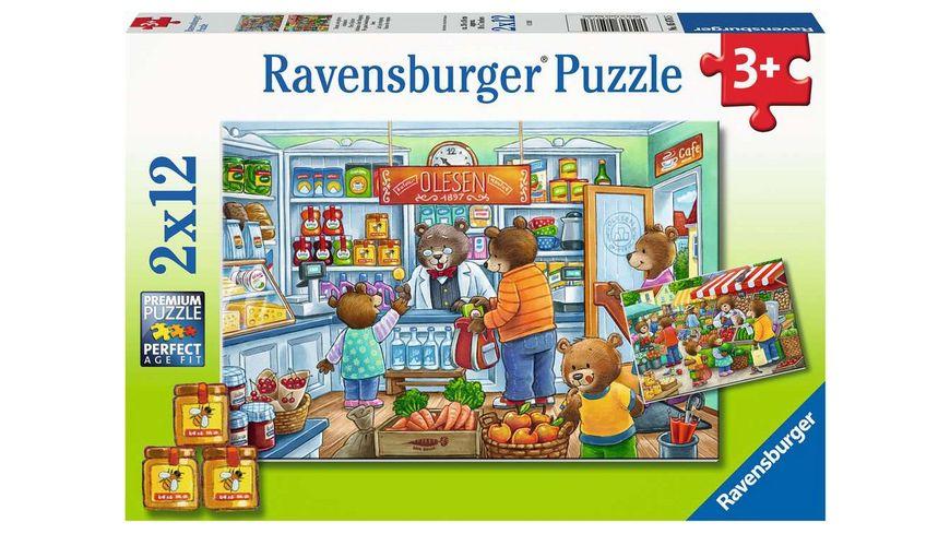 Ravensburger Puzzle Komm wir gehen einkaufen 2 x 12 Teile