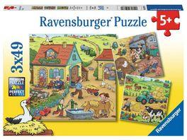 Ravensburger Puzzle Viel los auf dem Bauernhof 3 x 49 Teile