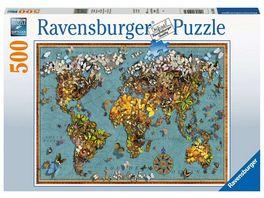 Ravensburger Puzzle Antike Schmetterling Weltkarte 500 Teile