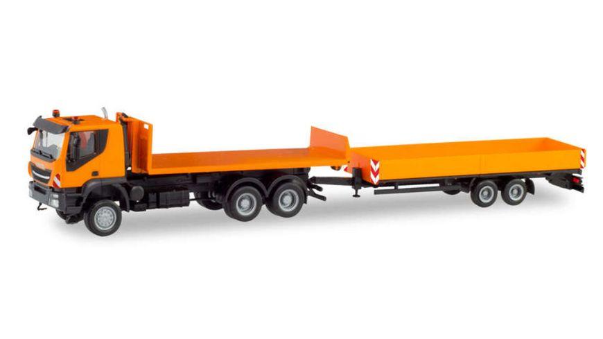 Herpa 311595 Iveco Trakker 6 6 Abrollflat LKW mit Tieflade Anhaenger