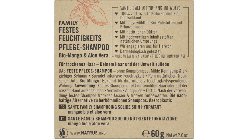 SANTE FAMILY Festes Feuchtigkeits Pflege Shampoo Bio Mango Aloe Vera