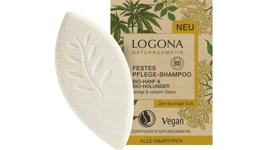 LOGONA Festes Pflege Shampoo Bio Hanf Bio Holunder