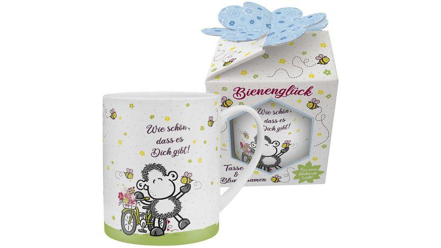 sheepworld XL Tasse mit Blumensamen Wie schoen dass es Dich gibt