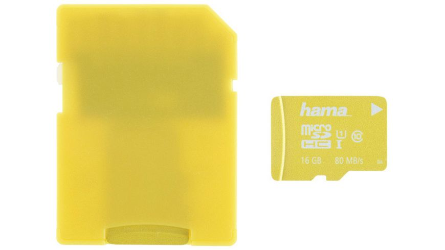 Hama microSDHC 16GB Class 10 UHS I 80MB s Adapter Gelb Schmale Verpackung