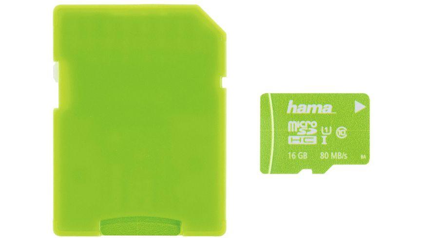 Hama microSDHC 16GB Class 10 UHS I 80MB s Adapter Neon Gruen Schmale Verpacku