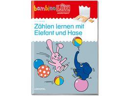 bambinoLUeK Uebungshefte bambinoLUeK Kindergarten 2 3 Jahre Zaehlen lernen mit Elefant und Hase