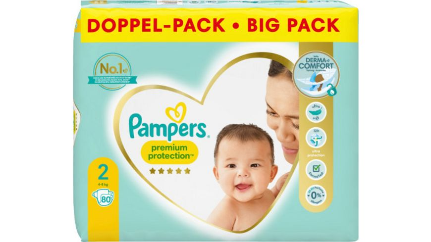 Pampers PREMIUM PROTECTION NEW BABY Windeln Gr.2 Mini 4-8kg Doppelpack 80ST