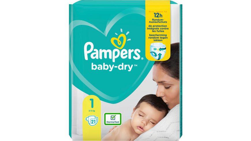 Pampers BABY DRY Windeln Gr.1 Newborn 2-5kg Tragepack 21ST