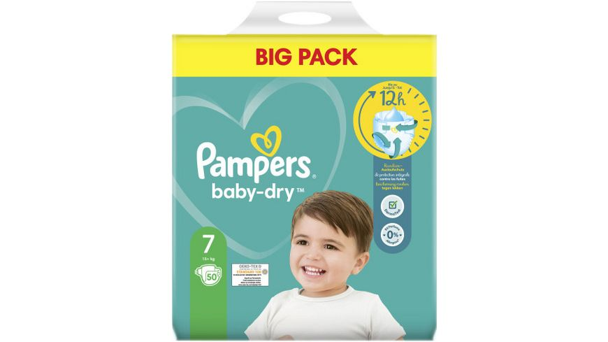Pampers BABY DRY Windeln Gr.7 Extra Large 15+kg Doppelpack 50ST