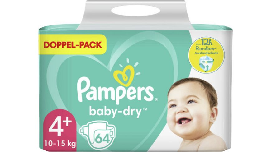 Pampers BABY DRY Windeln Gr.4+ Maxi Plus 10-15kg Doppelpack 64ST