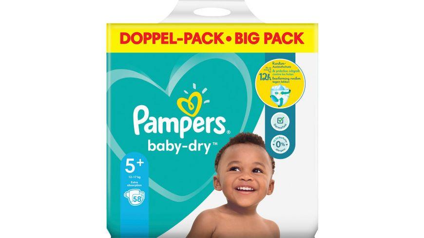 Pampers BABY DRY Windeln Gr.5+ Junior Plus 12-17kg Doppelpack 58ST