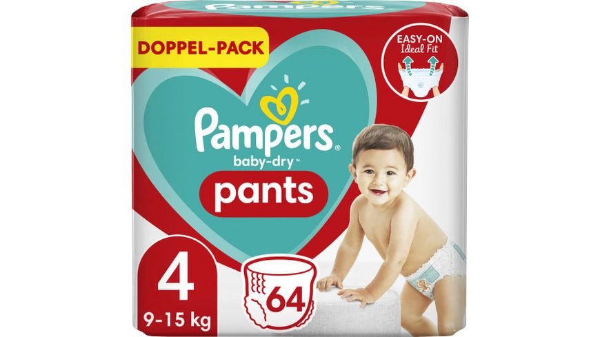 Pampers BABY DRY PANTS Windeln Gr.4 Maxi 9-15kg Doppelpack 64ST