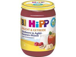 HiPP Frucht und Getreide Himbeere in Apfel Bananen Mueesli ohne Zuckerzusatz ab 8 Monat 190g
