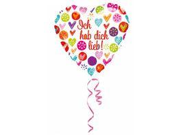 Amscan Standard Ich hab dich lieb Folienballon S40 43 cm