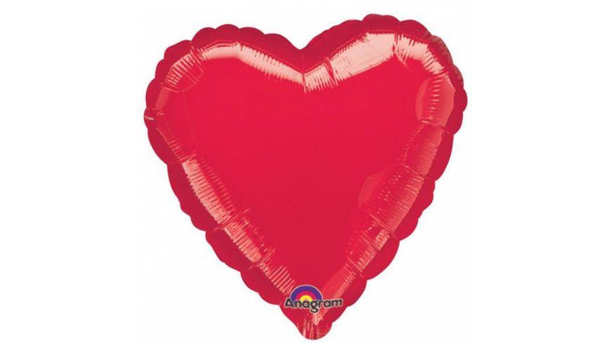 Amscan Standard Metallic Red Folienballon Herz rot S15 43cm