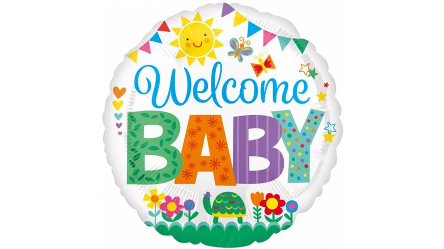 Amscan Standard Welcome Baby Cute Icons Folienballon rund S40 43cm