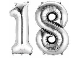 Amscan Folienballon Zahlen 1 8 silber P75