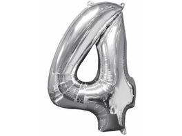 Amscan Folienballon Zahl 4 silber 26 P31