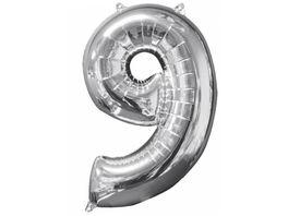Amscan Folienballon Zahl 9 silber 26 P31