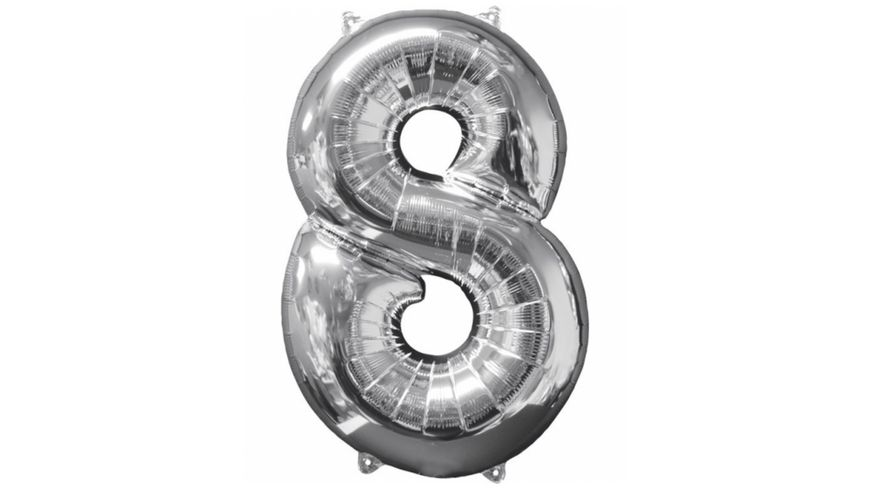 Amscan Folienballon Zahl 8 silber 26 P31