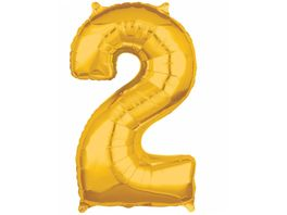Amscan Folienballon Zahl 2 gold 26 P31