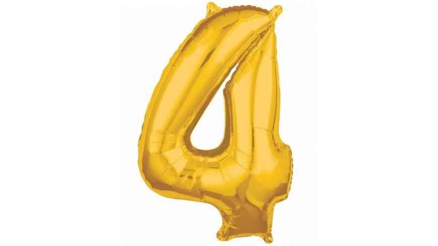 Amscan Folienballon Zahl 4 gold 26 P31