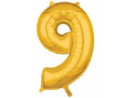 Amscan Folienballon Zahl 9 gold 26 P31