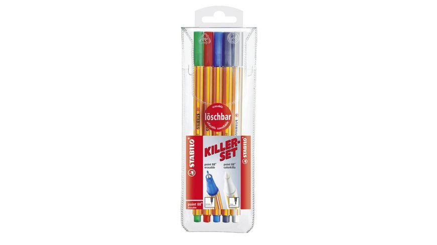STABILO® Fineliner mit löschbarer Tinte & Tintenkiller im Set - STABILO point 88 colorkilla/erasable - 5er Pack - grün, rot, blau, schwarz, 1x Tintenlöscher