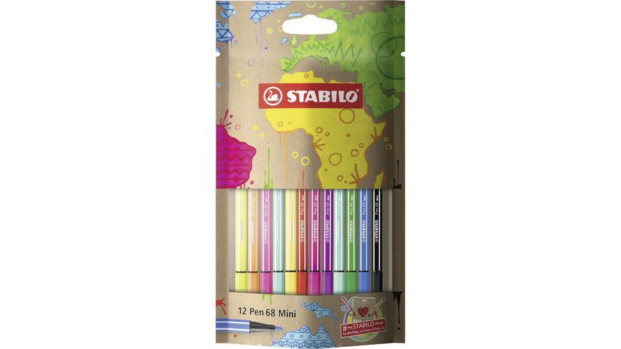 STABILO Pen 68 Mini Premium Filzstift mySTABILOdesign Edition12er Etui