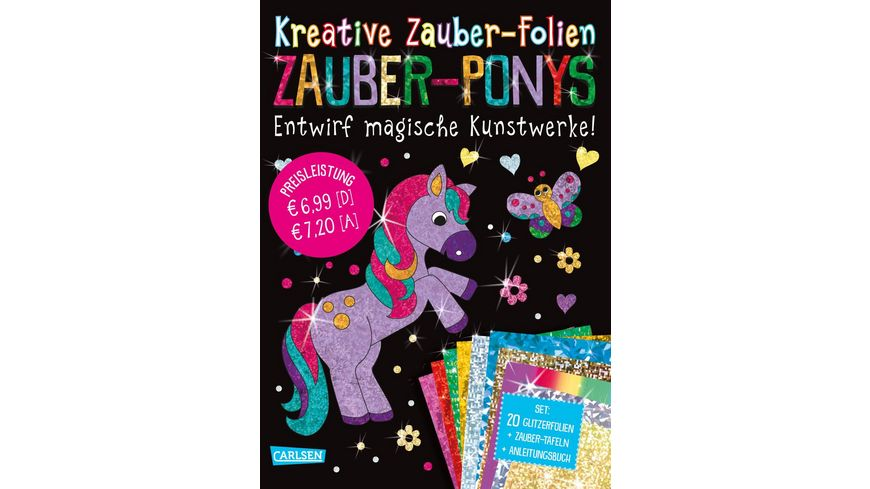 Kreative Zauber-Folien: Zauber-Ponys: Set mit 10 Zaubertafeln, 20 Folien und Anleitungsbuch