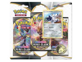 Pokemon Sammelkartenspiel Schwert Schild Clash der Rebellen 3 Pack Blister 1 Stueck sortiert