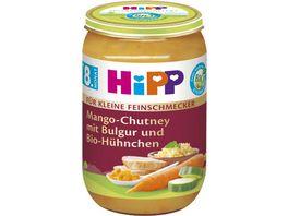 HiPP Menues fuer kleine Feinschmecker 220g Mango Chutney mit Bulgur und Bio Huehnchen ab 8 Monat