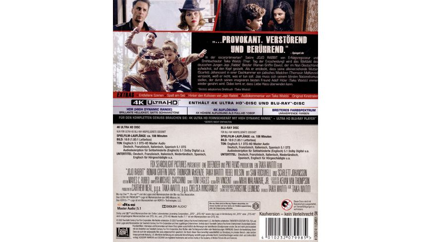 JoJo Rabbit 4K Ultra HD Blu ray 2D