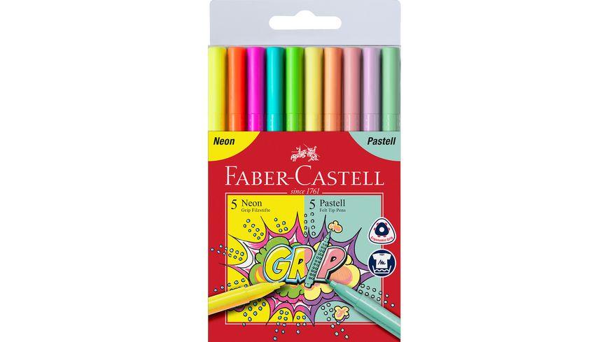 FABER CASTELL Grip Filzstift Neon und Pastell 10er Etui