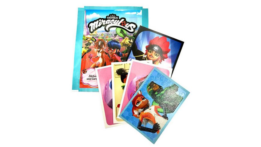 Panini Miraculous Ladybug Hybrid Trading Cards Sticker 1 Booster Pack 4 Sticker 1 Karte