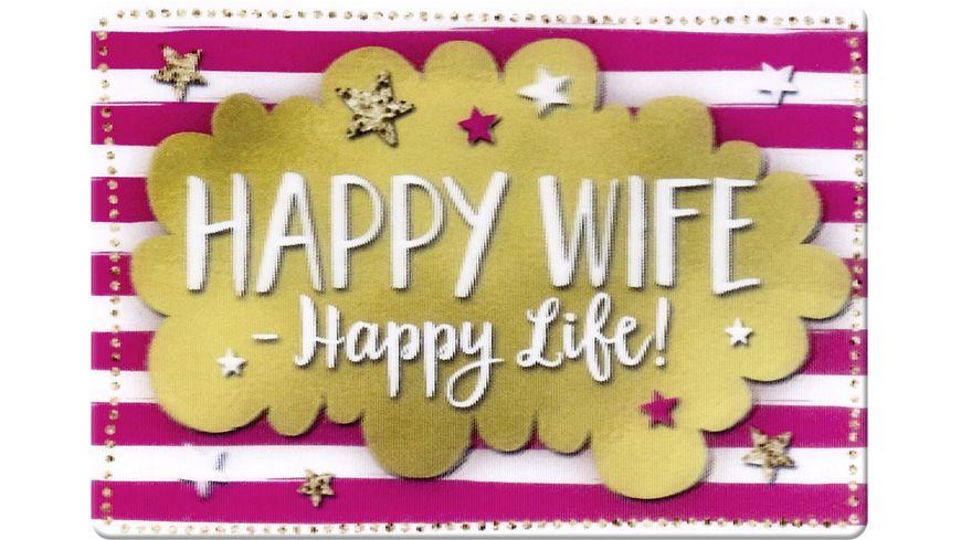 GRUSS CO Magnet 3D Happy Wife Happy Life