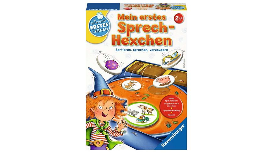 Ravensburger Spiel Mein erstes Sprech Hexchen das Sprachspiel fuer Kinder ab 2 5 Jahren
