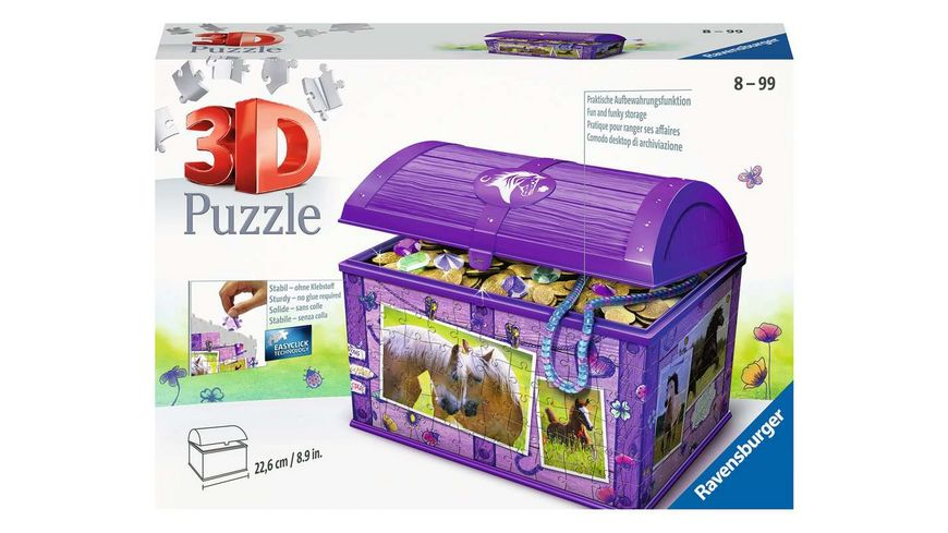 Ravensburger Puzzle - 3D Puzzles - Schatztruhe Pferde, 216 Teile