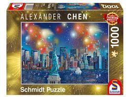 Schmidt Spiele Erwachsenenpuzzle Alexander Chen Freiheitsstatue mit Feuerwerk 1000 Teile