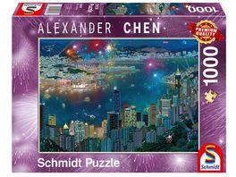 Schmidt Spiele Erwachsenenpuzzle Alexander Chen Feuerwerk ueber Hongkong 1000 Teile