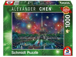 Schmidt Spiele Erwachsenenpuzzle Alexander Chen Feuerwerk am Eifelturm 1000 Teile