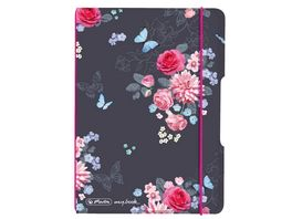 herlitz my book flex Notizheft PP A6 40Blatt kariert Ladylike Flowers