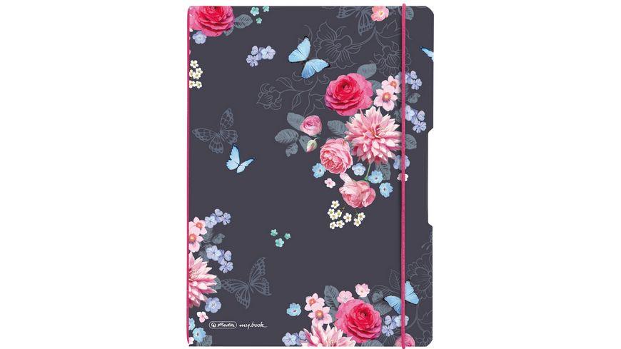 herlitz my book flex Notizheft PP A4 2x40Blatt liniert kariert Ladylike Flowers