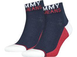 TOMMY HILFIGER Unisex Kurzsocken Tommy Jeans Quarter 2er Pack