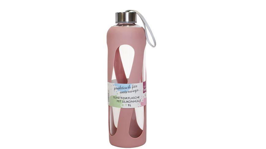 Trinkflasche aus Glas mit Silikonmantel 1l