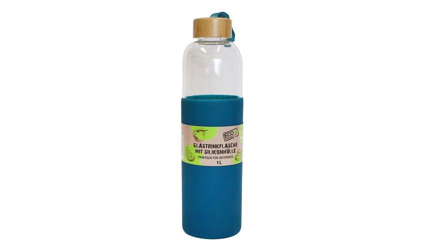 Trinkflasche aus Glas mit Silikonhülle 1l
