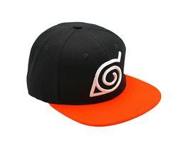 NARUTO SHIPPUDEN Snapback Cap Black Orange Konoha