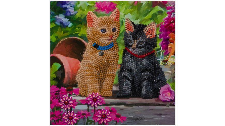 Craft Buddy - Crystal Art Card Kit Katzen 18 x 18 cm