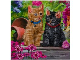 Craft Buddy Crystal Art Card Kit Katzen 18 x 18 cm