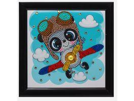 Craft Buddy Crystal Art Frameables Fliegender Panda 18 x 18 cm